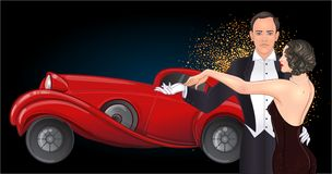 Beautiful couple in art deco style dancing tango. Retro fashion:. Glamour man and woman of twenties and red car. Vector illustration. Roaring Twenties. Classic stock illustration