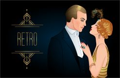 Beautiful couple in art deco style. Retro fashion: glamour man a Royalty Free Stock Photography