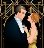 Beautiful couple in art deco style. Retro fashion: glamour man a Stock Photography