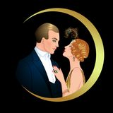 Beautiful couple in art deco style. Retro fashion: glamour man a Stock Image