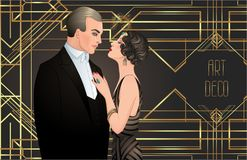 Beautiful couple in art deco style. Retro fashion: glamour man a. Nd woman of twenties. Vector illustration. Flapper 20's style. Vintage party  or thematic Royalty Free Stock Image