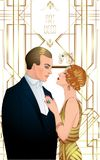 Beautiful couple in art deco style. Retro fashion: glamour man a. Nd woman of twenties. Vector illustration. Flapper 20's style. Vintage party  or thematic Stock Photography