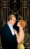 Beautiful couple in art deco style. Retro fashion: glamour man a. Nd woman of twenties. Vector illustration. Flapper 20's style. Vintage party  or thematic Royalty Free Stock Photography