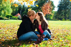 Beautiful couple in autumn park Royalty Free Stock Images