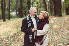 Beautiful couple in autumn park Royalty Free Stock Photo