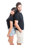 Beautiful couple back to back Stock Images