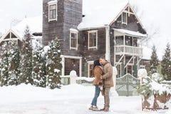 Beautiful  couple on background house Stock Photography