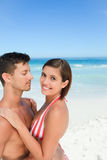 Beautiful couple at the beach. Beautiful young couple at the beach Stock Photo