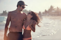 Beautiful Couple on the beach Having Fun Royalty Free Stock Photo