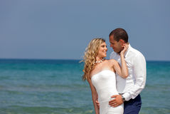 Beautiful couple at the beach. Portrait of a beautiful young couple at the beach Stock Photos