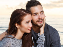 Beautiful couple on the beach Royalty Free Stock Images