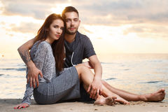 Beautiful couple on the beach Stock Photography