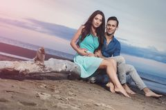 Beautiful couple on the beach Stock Image