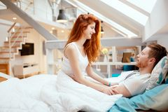 Beautiful couple romance in bed Royalty Free Stock Photography