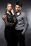 Beautiful couple on black background Stock Image