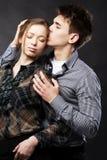 Beautiful couple on black background Royalty Free Stock Image