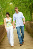 Beautiful couple on a bridge Royalty Free Stock Photo