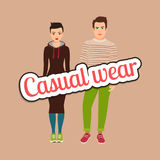 Beautiful couple in casual wear style Royalty Free Stock Photos