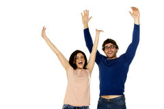 Beautiful couple cheering and celebrating isolated on a white ba Stock Photos
