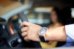 View of a Young business man couple in their brand new car Royalty Free Stock Photography