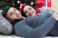 Beautiful couple on Christmas night Royalty Free Stock Images