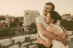 Beautiful couple in the city Stock Photography