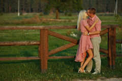 Beautiful couple in country style Stock Images