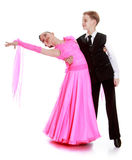 Beautiful couple dance. Boy and girl of school age to compete in dance sport-Isolated on white background stock photo