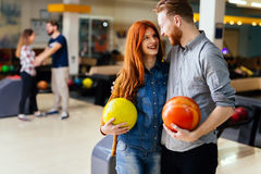 Beautiful couple dating and bowling Stock Images