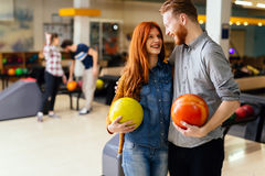 Beautiful couple dating and bowling Stock Photography