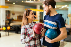 Beautiful couple dating and bowling Royalty Free Stock Images