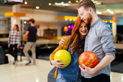Beautiful couple dating and bowling Royalty Free Stock Image