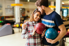 Beautiful couple dating and bowling Royalty Free Stock Photos