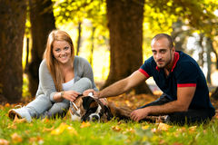 Beautiful Couple With The Dog Royalty Free Stock Image