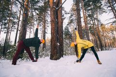 couple doing yoga in forest stock image  image of park