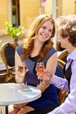Beautiful couple drinking rose wine Royalty Free Stock Photos