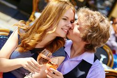 Beautiful couple drinking rose wine Stock Photography