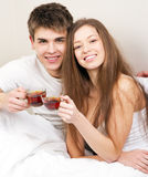 Beautiful couple drinking tea Royalty Free Stock Photography