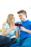 Beautiful couple drinking wine together Royalty Free Stock Photos