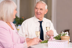Beautiful couple of elderly people talking. Quality time. Good looking happy senior men looking at his girlfriend with love while talking to her and sitting at Royalty Free Stock Photography