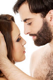Beautiful couple embracing and kissing. Royalty Free Stock Photography