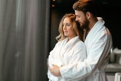 Beautiful couple enhoying wellness weekend. In a luxurious resort royalty free stock image