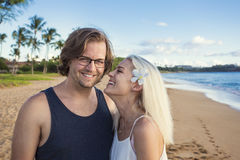Beautiful couple enjoying an exotic island honeymoon together stock images