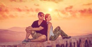 Beautiful couple enjoying sunset Royalty Free Stock Photo