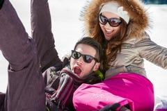 Beautiful couple enjoying in winter. Stock Images