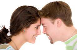 Beautiful couple face to face Stock Image