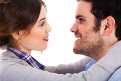 Beautiful couple facing each other Stock Photo