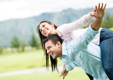 Beautiful couple  flying Royalty Free Stock Images
