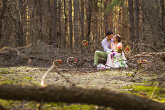 Beautiful couple in forest. Stock Photography