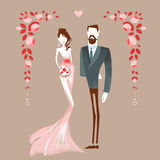 Beautiful couple getting maried. Man and woman holding hands. Vector illustration eps 10 vector illustration